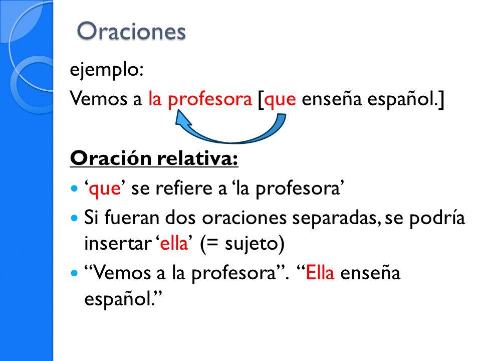 Oraciones ejemplo: Vemos a la profesora [que enseña español.]